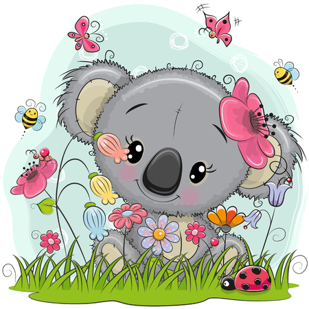 Cute Cartoon Koala girl on a meadow with flowers and butterflies