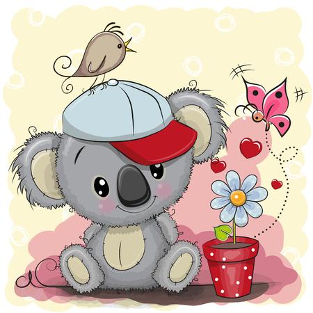 Leuke beeldverhaalkoala van de groetkaart met bloem Stock Illustratie