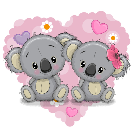 Two Cute Cartoon Koalas on a background of heart 向量圖像