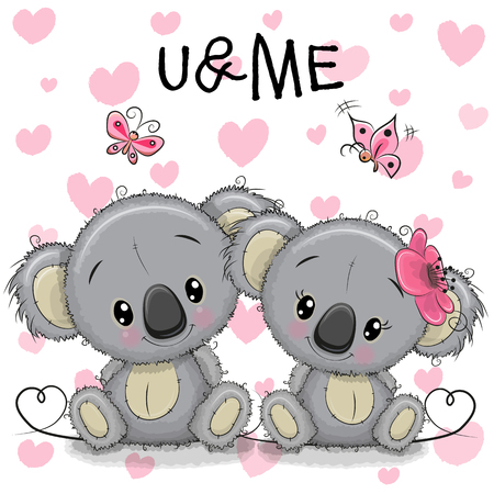 Two cute Koalas on a hearts background