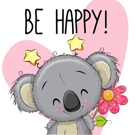 Be Happy Greeting card Koala with hearts and a flower Vectores