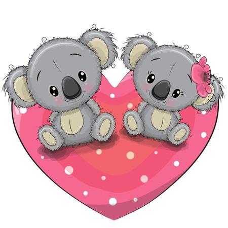 Two cute Cartoon Koalas are sitting on a heart