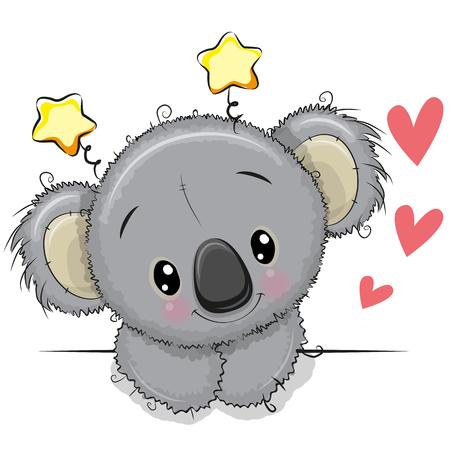 Cute cartoon Drawing Koala on a white background Illustration