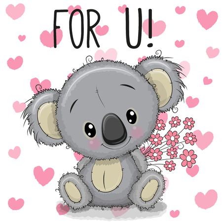 Greeting card Cute Cartoon Koala with a flowers Illustration