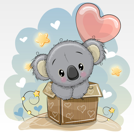 Birthday card with a Cartoon Cute Koala and balloon Illustration