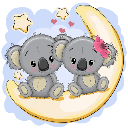 Two Cute Cartoon Koalas is sitting on the moon Illustration