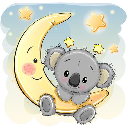 Greeting card Cute Cartoon Koala on the moon