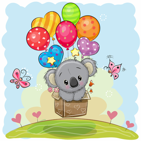 Cute Cartoon Koala in the box is flying on balloons Çizim