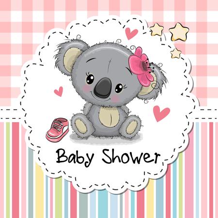 귀여운 만화 코알라 소녀와 베이비 샤워 인사말 카드 일러스트
