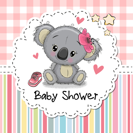 Baby Shower Greeting Card with cute Cartoon Koala girl