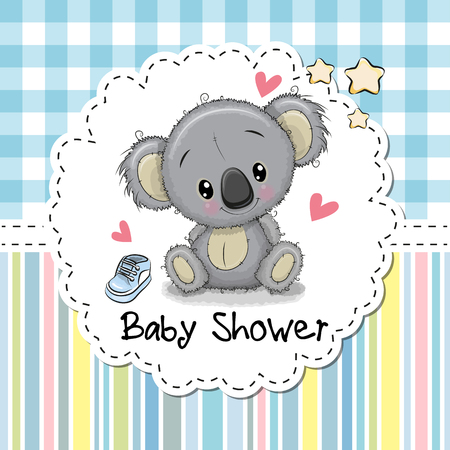 Baby Shower Greeting Card with cute Cartoon Koala boy