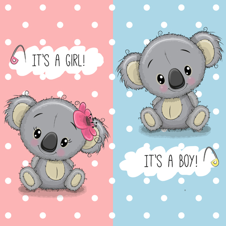 Baby Shower greeting card with cute Koalas boy and girl Illustration