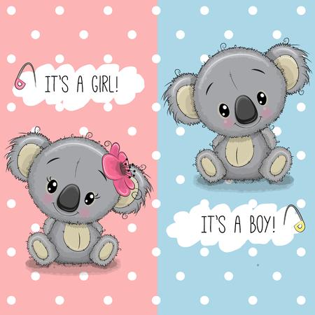 Tarjeta de felicitación de Baby Shower con lindos Koalas niño y niña