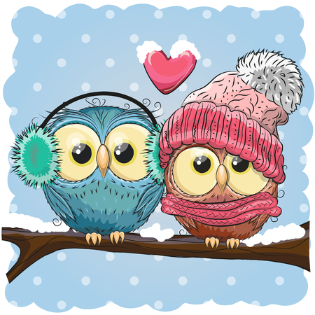 Two cute drawn Owls  sits on a branch in a snow Ilustracja