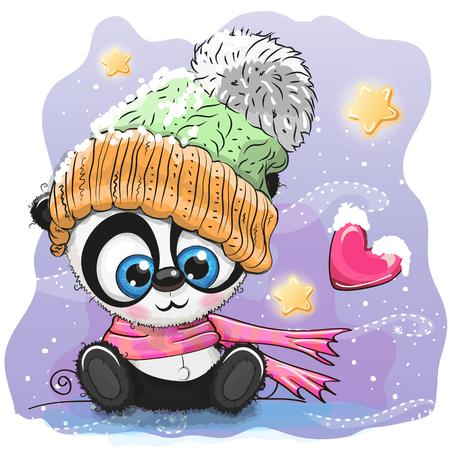 Cute Cartoon black Kitten in a knitted cap sits on a snow Çizim