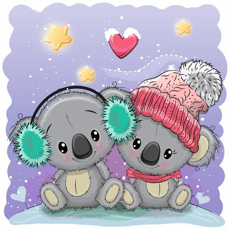 Cute winter illustration with two koalas in hats Vettoriali