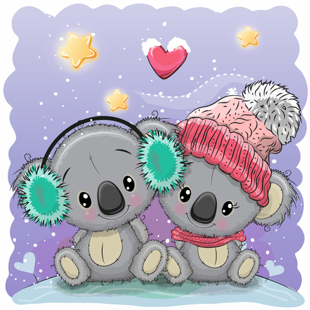 Cute winter illustration with two koalas in hats Stock Illustratie