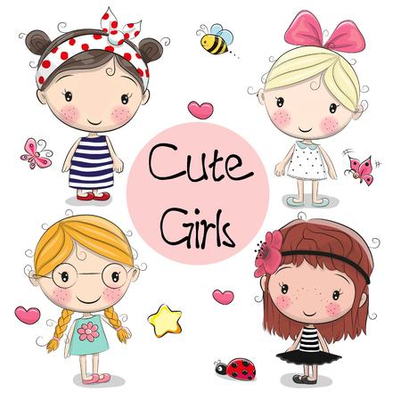 Quatre filles de dessin animé mignon sur fond blanc Vecteurs