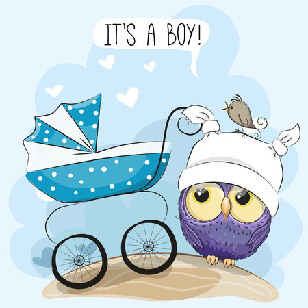 Tarjeta de felicitación es un niño con carro de bebé y búho Foto de archivo - 88598088