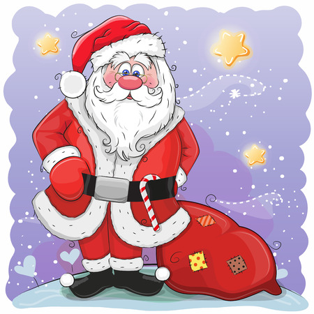 Cute Cartoon Santa Claus with bag on a stars background.