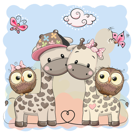 Two cute giraffes and owls on a blue background.