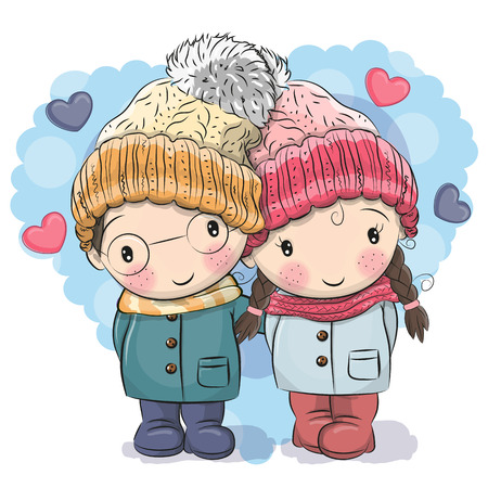 Cute winter illustration of boy and girl. 向量圖像