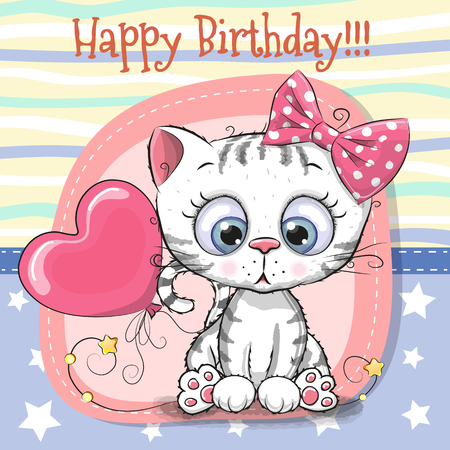 Cute cartoon kitten birthday greeting card. Çizim