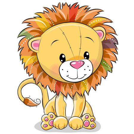白い背景に分離されたかわいい漫画ライオン