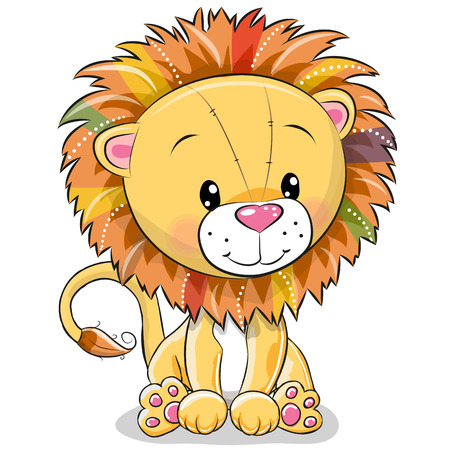 Cute Cartoon lion isolated on a white background