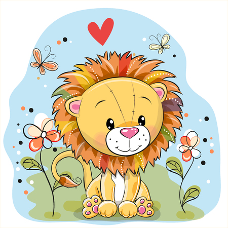 computer art: Cute Cartoon Lion with flowers and butterflies on a meadow Illustration