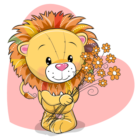 Greeting card cute Lion with flowers on a heart background