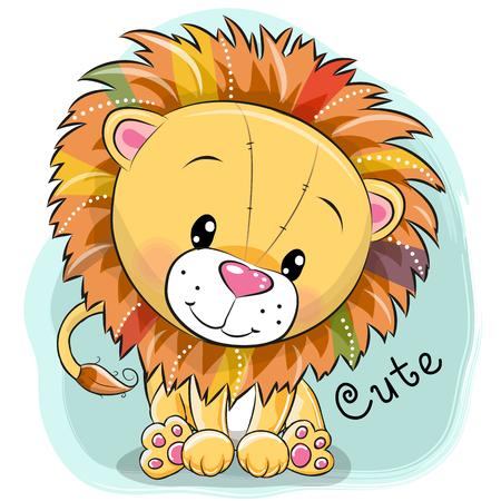 Śliczny kreskówka lew na błękitnym tle, wektorowa ilustracja.