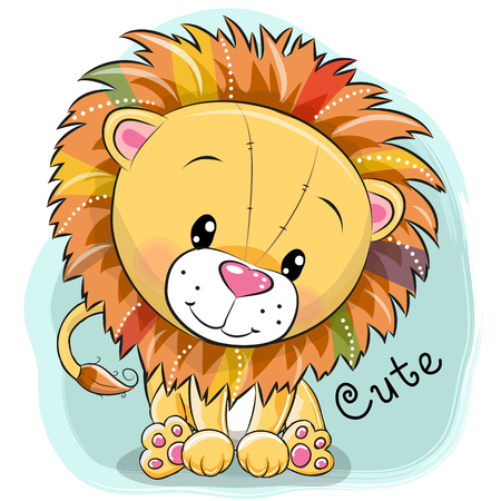 Cute cartoon lion on a blue background, vector illustration.