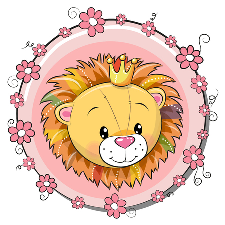 Greeting card cute cartoon lion with flowers, vector illustration. 向量圖像