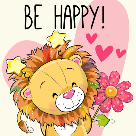 Be happy greeting card lion with hearts and a flower, vector illustration. Illustration