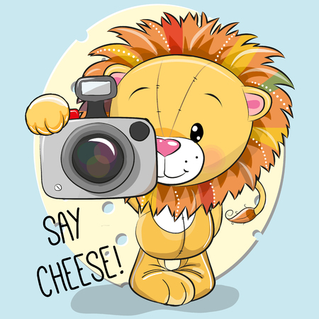 Cute cartoon lion with a camera on a blue background, vector illustration.