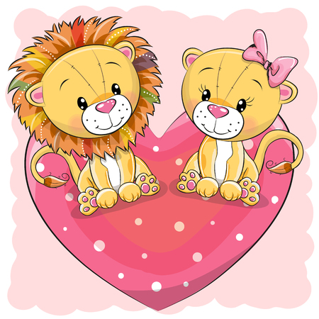 Two cute cartoon lions is sitting on a heart, vector illustration. Illustration