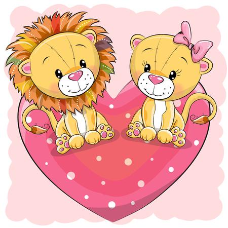 Twee leuke cartoon leeuwen zit op een hart, vectorillustratie.