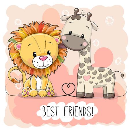Cute cartoon lion and giraffe on a pink background, vector illustration. Ilustração