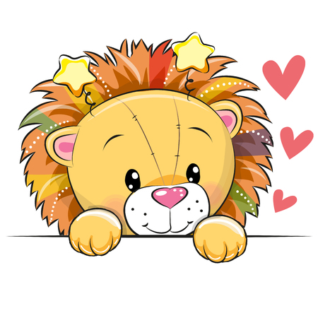 Cute cartoon lion with hearts on a white background, vector illustration. Illustration