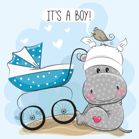 Greeting card its a boy with baby carriage and hippo, vector illustration.