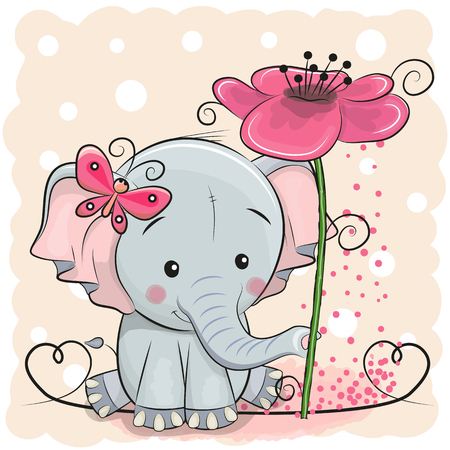 Greeting card elephant with flower on a pink background, vector illustration.