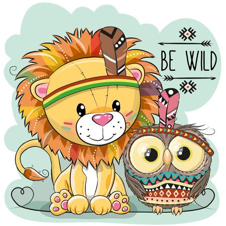 羽を持つかわいい漫画部族のライオンとフクロウ、ベクトルイラスト。