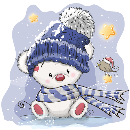 Greeting Christmas card with cartoon polar bear, vector illustration. 일러스트