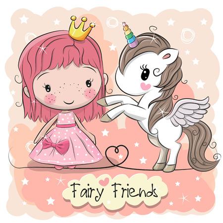 Kartkę z życzeniami z bajki księżniczka kreskówka i jednorożca. Ilustracje wektorowe