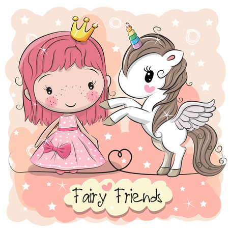 Greeting card with cute cartoon fairy tale princess and unicorn. Stock Illustratie