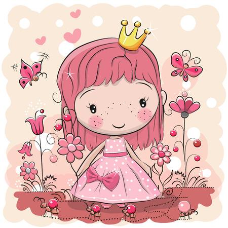 Greeting card with cute cartoon fairy tale princess, vector illustration.