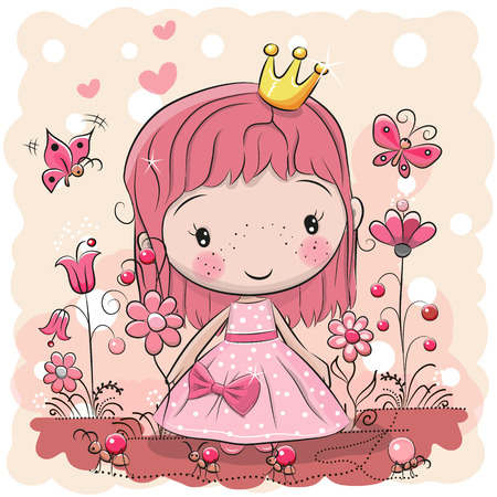Greeting card with cute cartoon fairy tale princess, vector illustration.