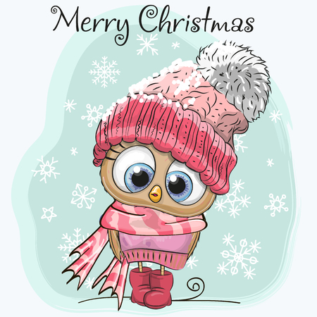 Cute Cartoon Owl in a hat and scarf Illustration