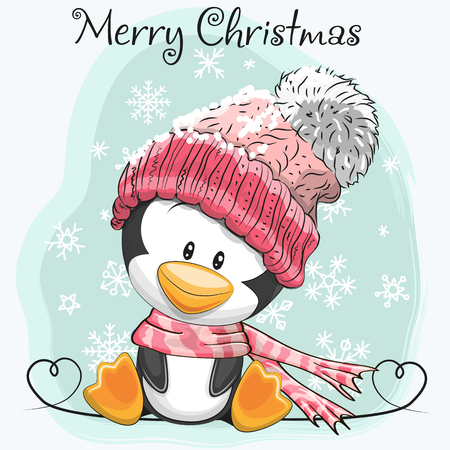 Greeting card Cute Cartoon Penguin in a hat and scarf